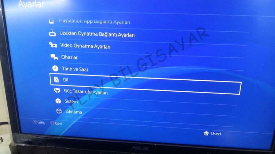 Playstation 4 Sistem Dilini Değiştirme